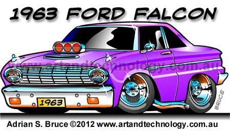 Art And Technology 1963 Ford Falcon Muscle Car Cartoon