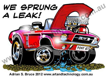 Car cartoon 1967 v8 mustang breaks down hot rod cartoon