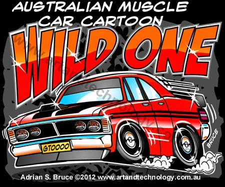 Art And Technology Australian Cartoon V8 Muscle Car Furd Gtooo