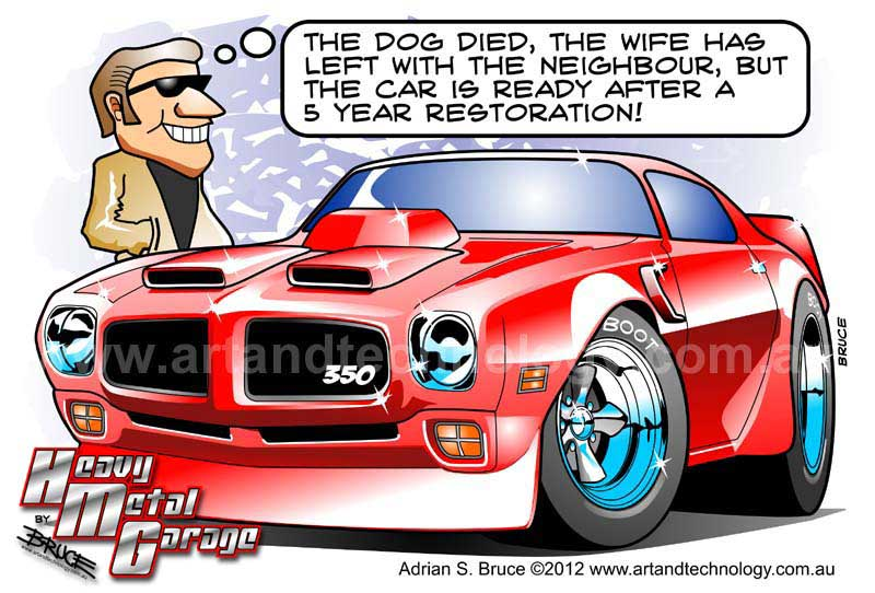 Art And Technology 71 Muscle Car Restoration Cartoon Caricature