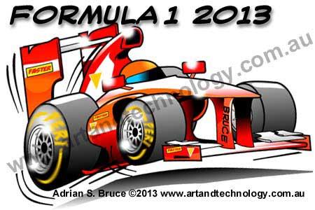 Formula 1 red car cartoon caricature 2013