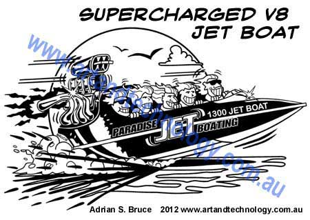 Car cartoon supercharged v8 jet boat t shirt design for paradise jet